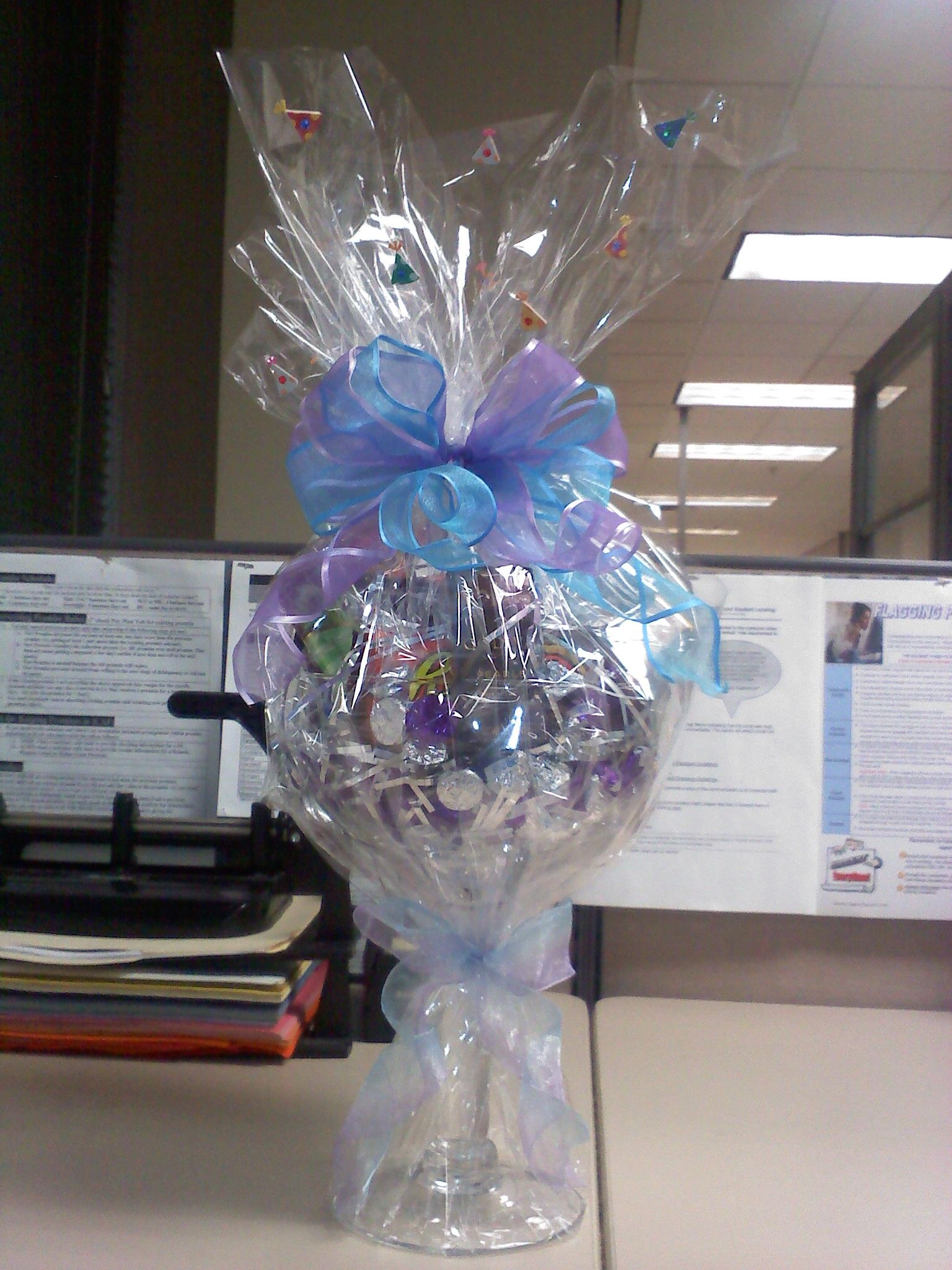 Candy bouquet in a large brandy glass Candy bouquet