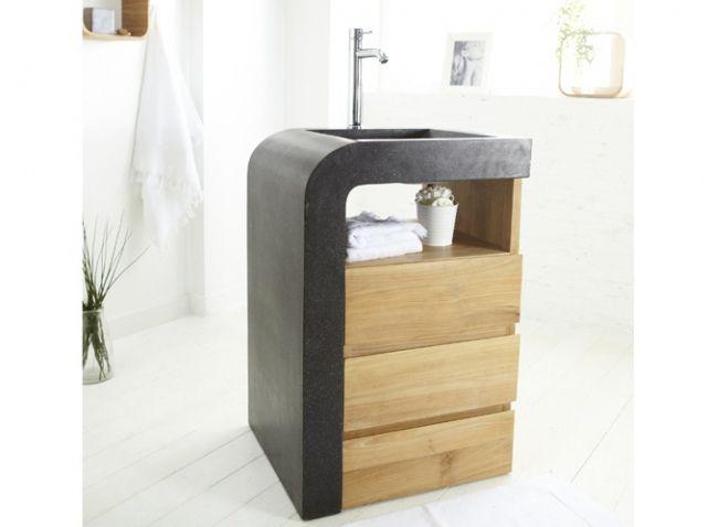 meuble avec vasque en bois pour petite salle de bains plus de dcouvertes sur dco tendencycom deco design blogdeco blogueur
