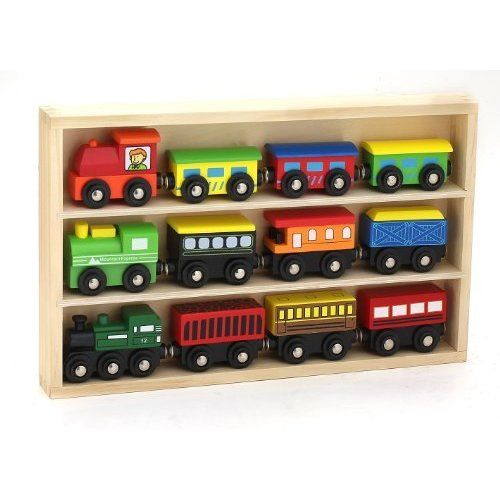 Orbrium Toys 12 Pcs Wooden Engines & Train Cars Collection ...