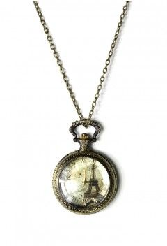 Eiffel Tower Watch Pendant Necklace - Accessory - Retro, Indie and Unique Fashion