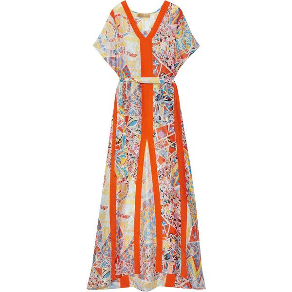 Emilio Pucci Printed hammered-silk kaftan (28,150 HNL) ❤ liked on Polyvore featuring tops, tunics, bright orange, orange tunic, silk tunic, kaftan tunic, emilio pucci and kaftan tops