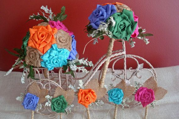 Burlap MultiColored Boutonnieres/Corsages by bellamariacreations, $14.00