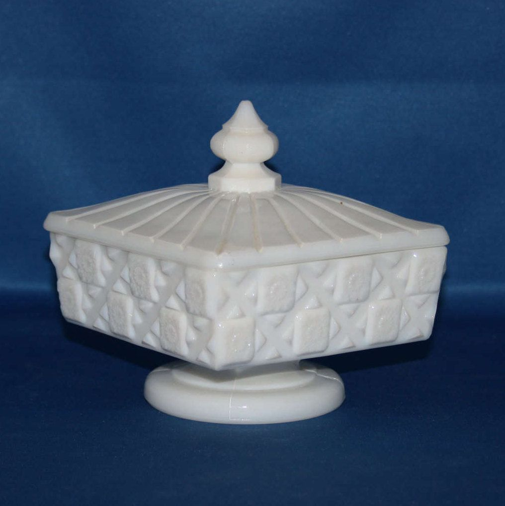 Vintage Westmoreland Milk Glass Old Quilted Lidded Pedestal Honey ...