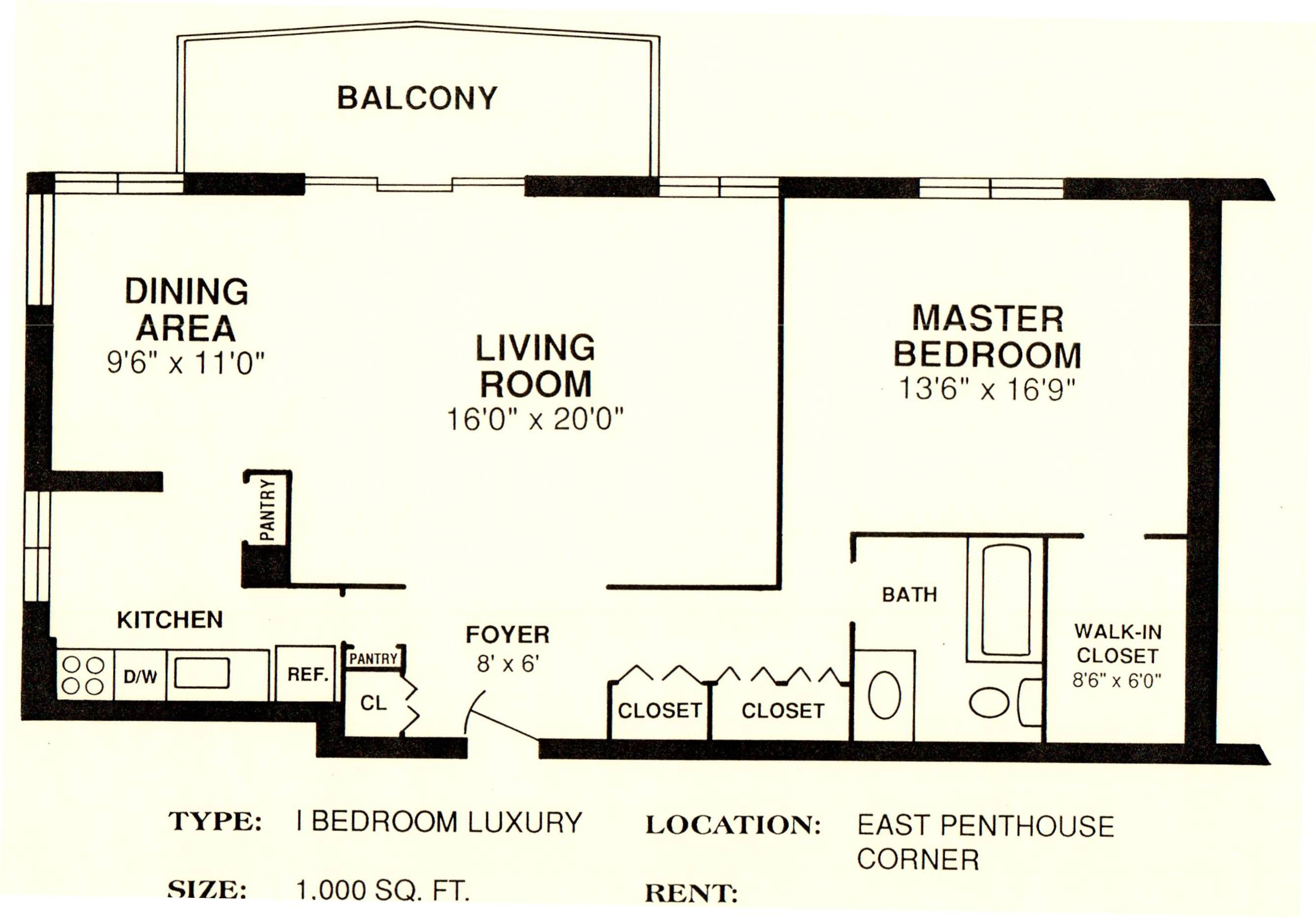 East Penthouse 1 000 Sq Ft Luxurious Bedrooms Penthouse Floor Plans