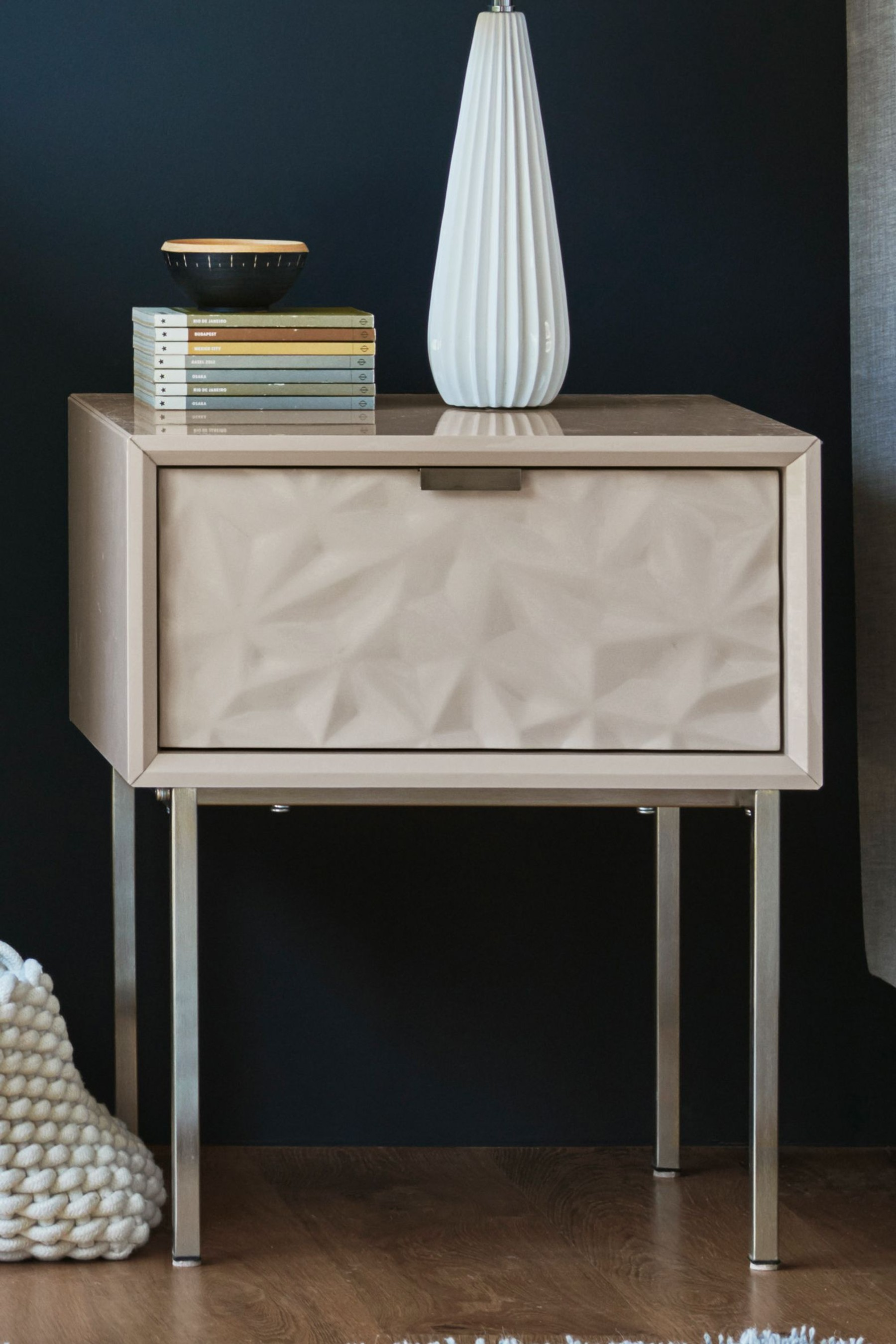 Next Mode Textured 1 Drawer Bedside Table Mink Bedroom Collections Furniture Furniture Mattress Furniture