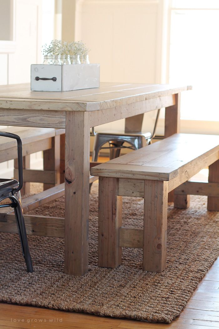 Learn how to build an easy DIY Farmhouse Bench perfect for saving space in