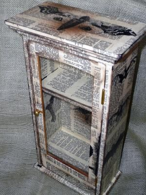 Decoupage Newspaper Cabinet With