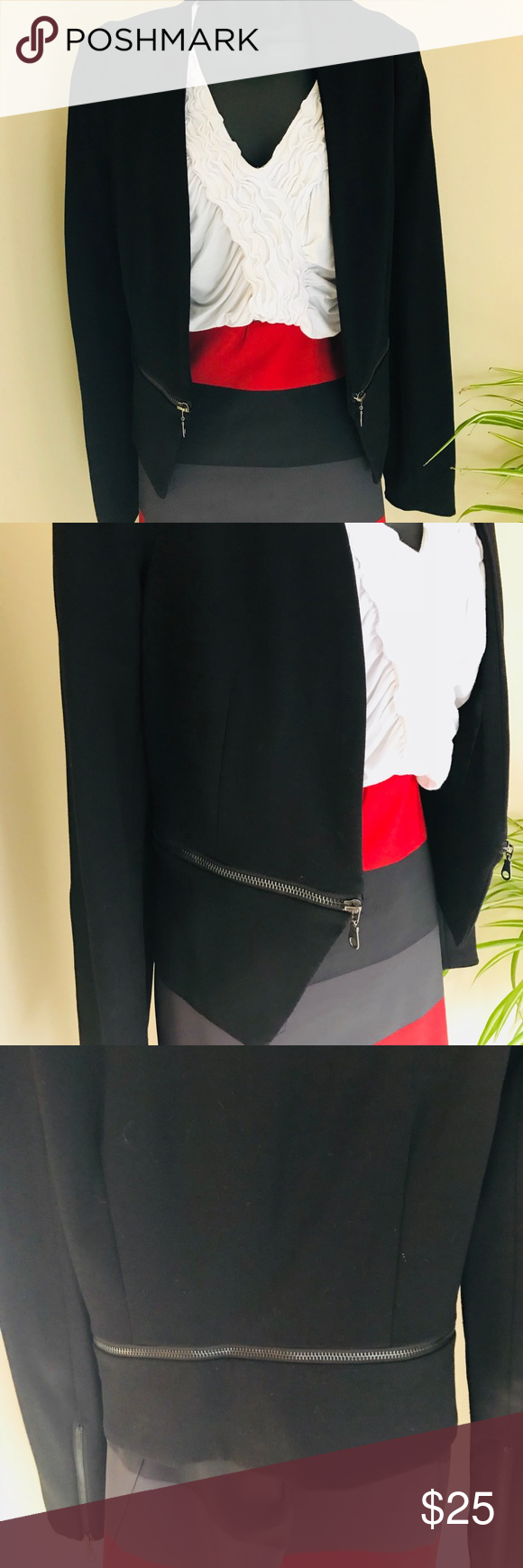 Black knit collarless jacket with zipper detail collarless jacket