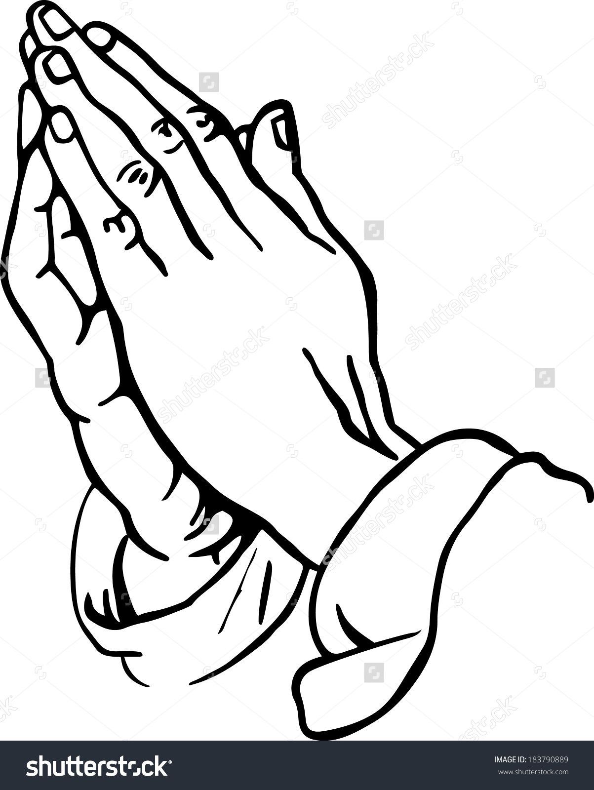 An outline of praying hands can be used in different types of arts ...