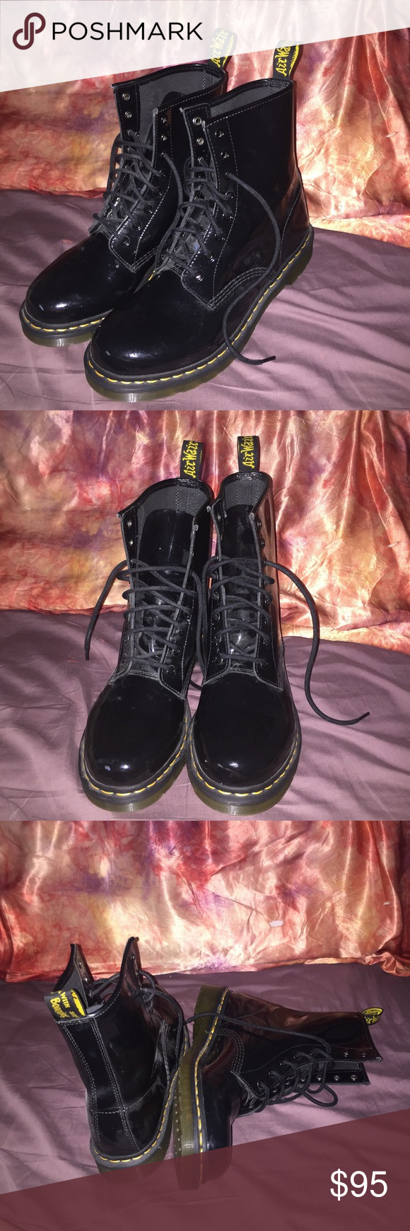 Dr.Martens Dr.marten black patent shiny boots▪️. Worn once not noticeable at all. In very good shape! Size 10. Not worn in yet. 💖 Retail $125 🔥🔥 Dr. Martens Shoes Winter & Rain Boots