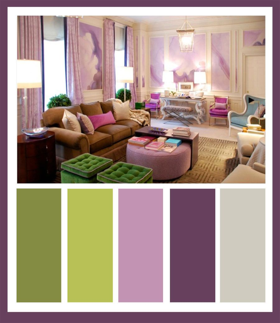 chartreuse and lavender bedroom, I like the color swatches ...