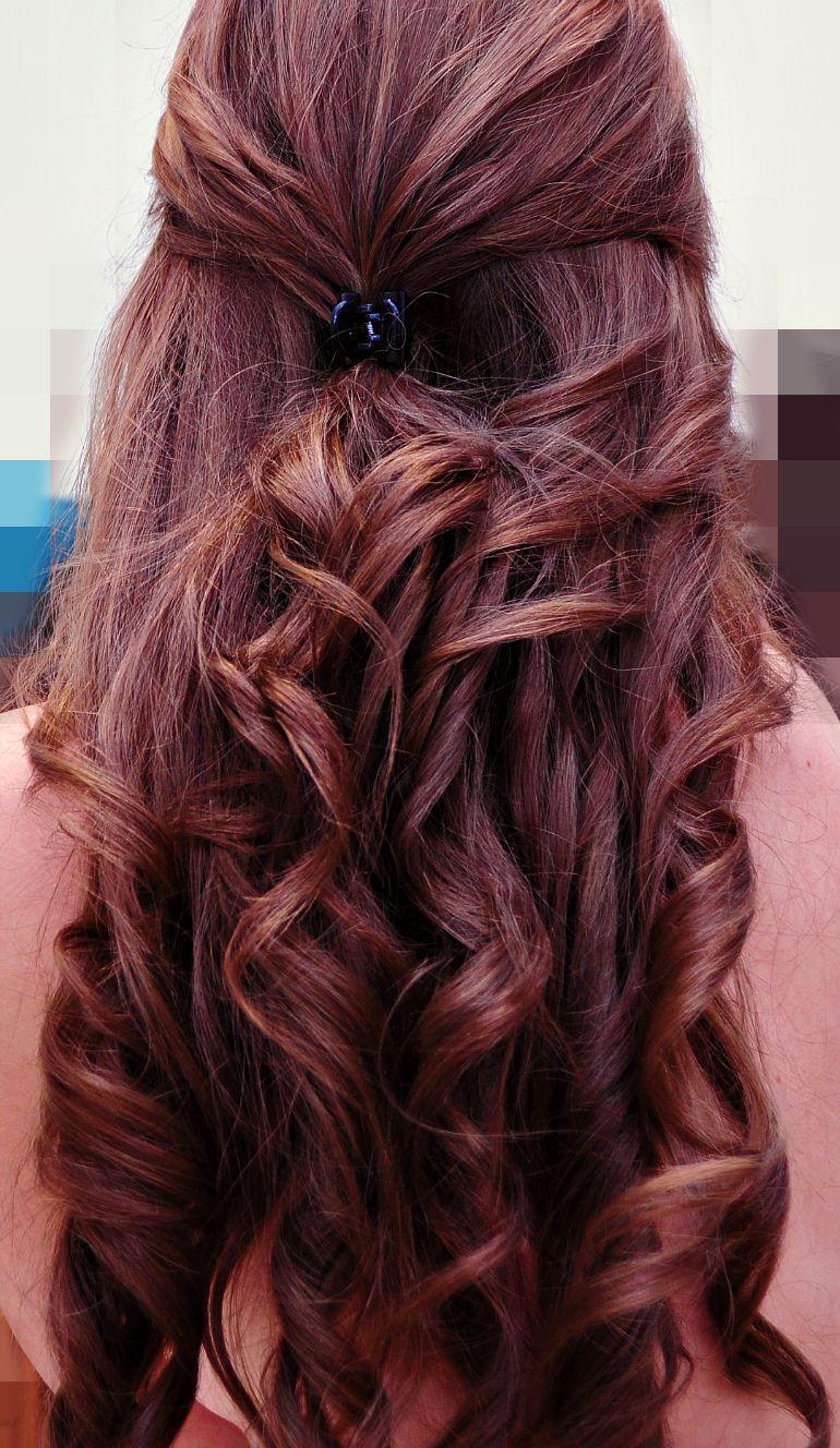 curly hair :)) half up  do