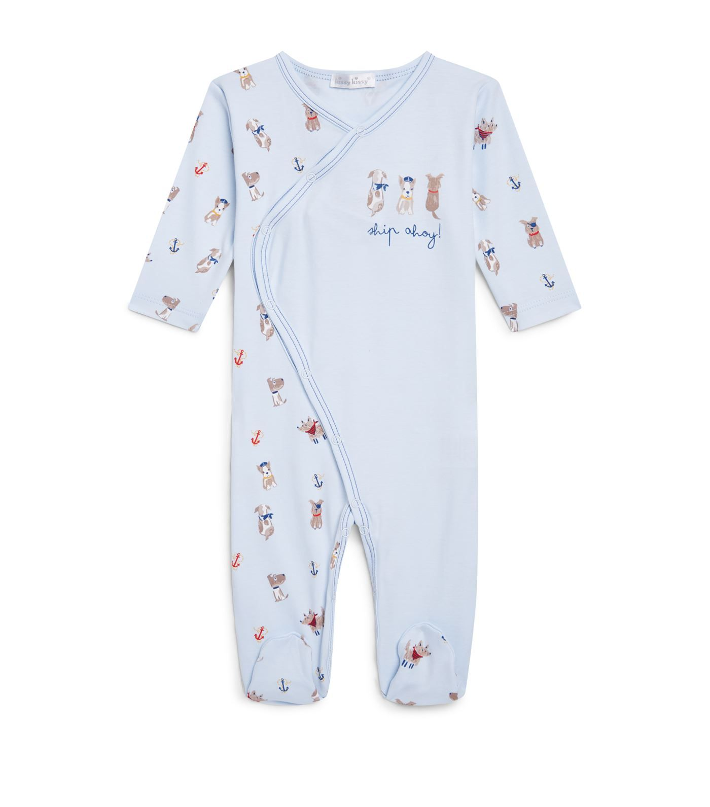 Kissy Kissy Baby-Boys Infant Salty Dogs Print Short Playsuit with Collar