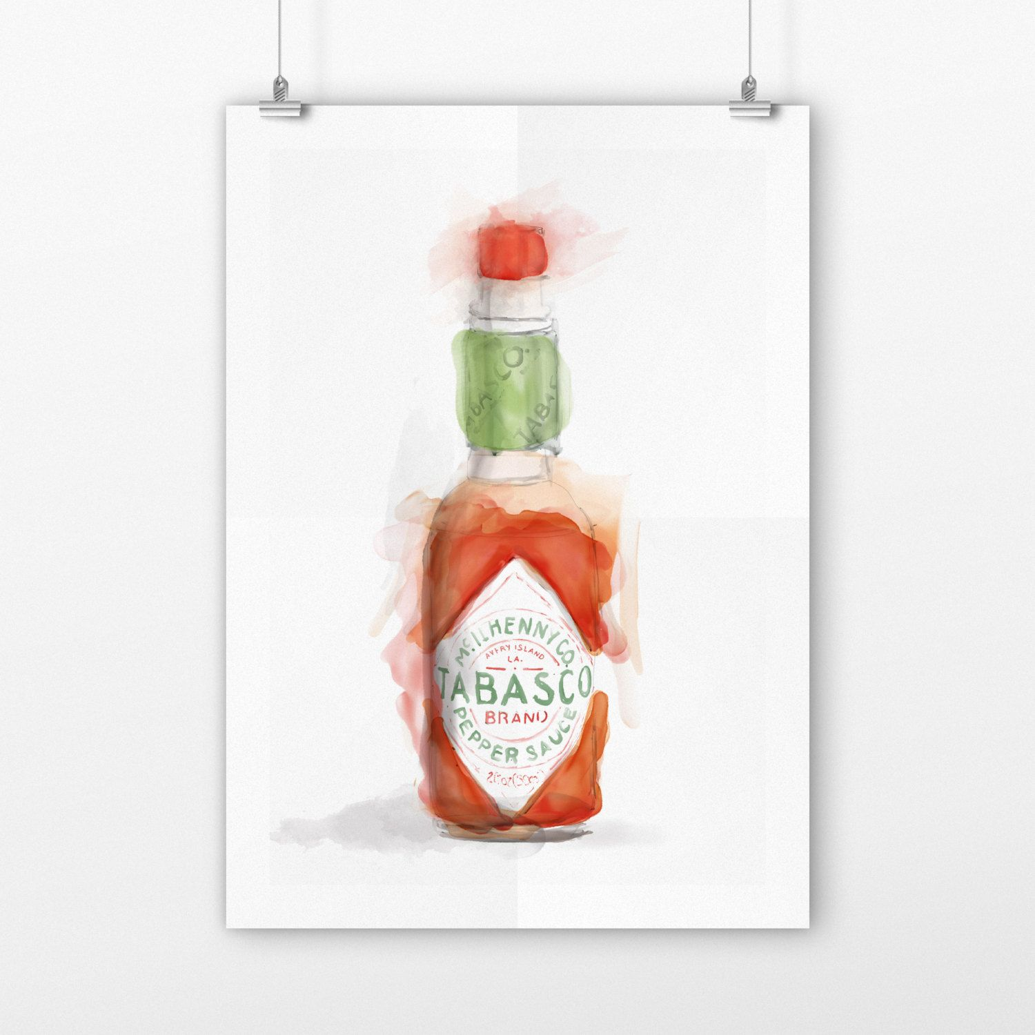 Printable kitchen art - Tabasco Kitchen Sign Art Print Housewarming Gift Tabasco Wall Decor Food Art Print Printable Kitchen Art Digital Download
