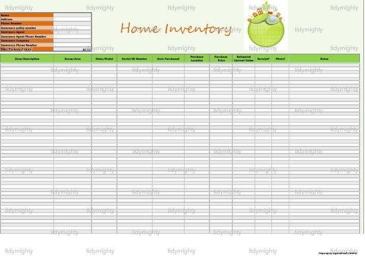home inventory list Ofkolo – Household Inventory List Template