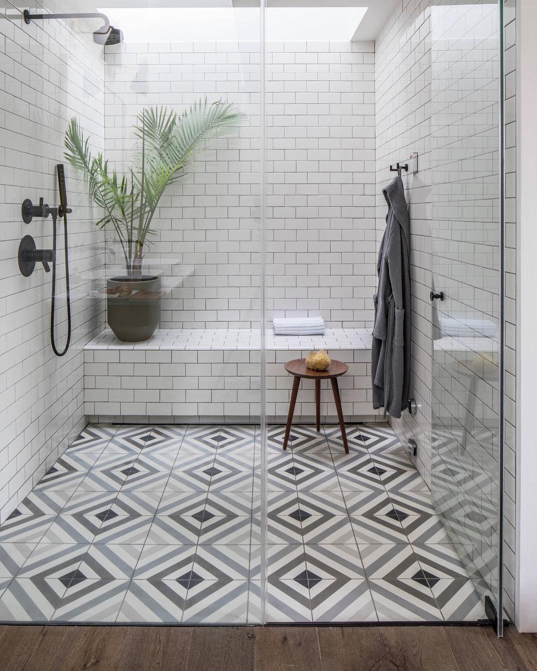 Very Simple Shower Room With White Subway Tiles For The Walls Encaustic Cement Tiles For Flooring Ceme Bathroom Floor Tiles Bathroom Remodel Tile Shower Tile