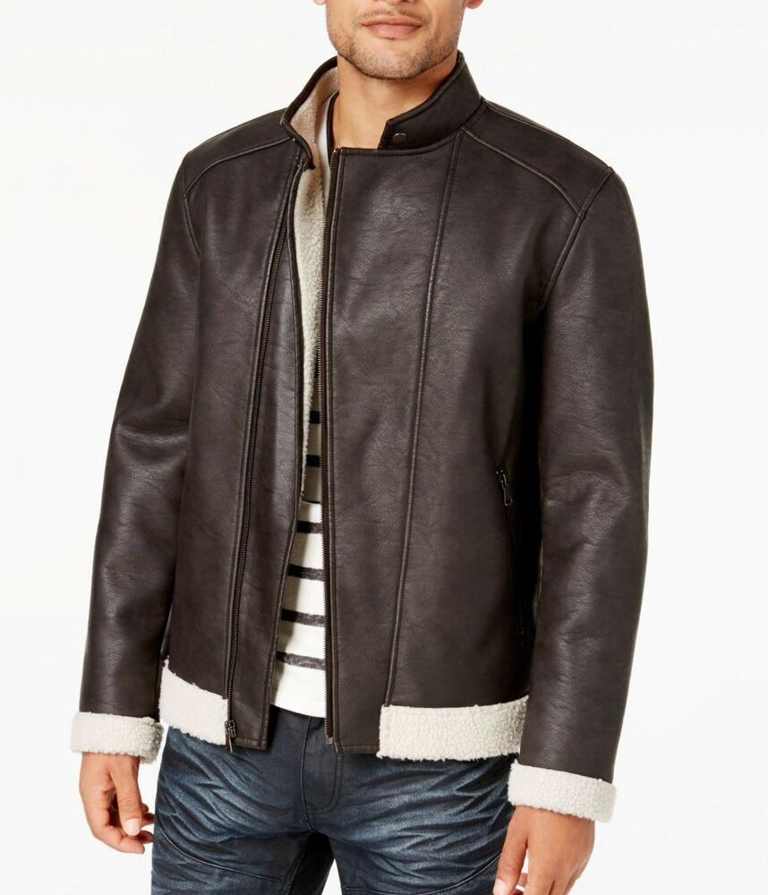 Inc New Coffee Brown Mens Size Small S Fleece Lined Motorcycle Jacket 179 047 Fashion Clothing Shoes Accessories Jackets Outerwear Jackets Leather Jacket [ 1000 x 858 Pixel ]