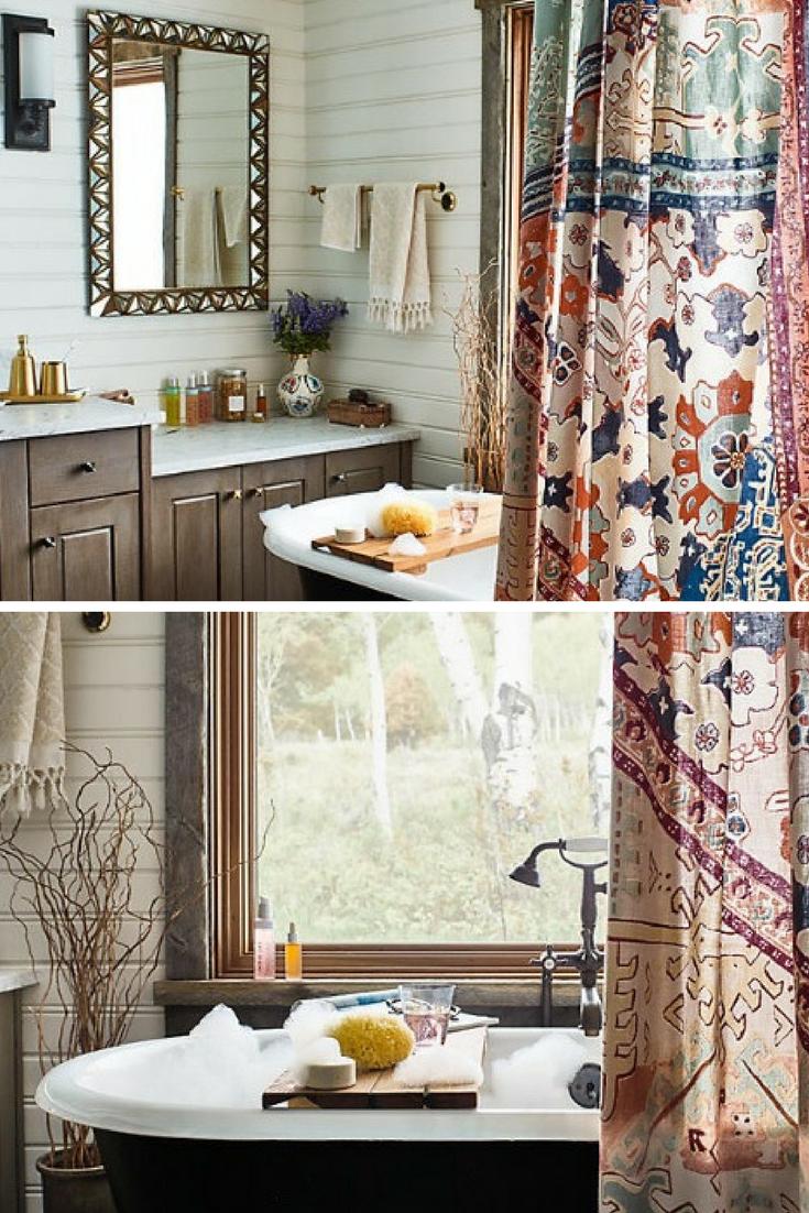 A gorgeous Risa Shower Curtain by Anthropologie (Affiliate) || http on waterworks bathroom design, houzz bathroom design, kelly wearstler bathroom design, ikea bathroom design,