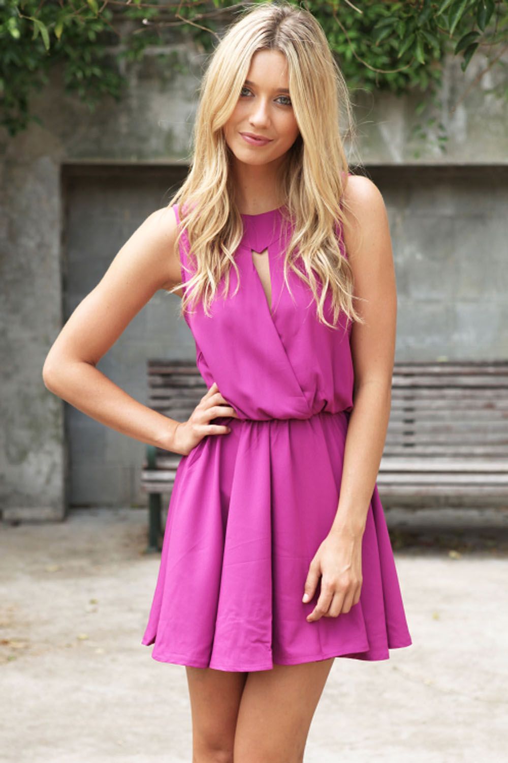 Pink dress drawing  this dress draws the eye to the waist line makes it look like you
