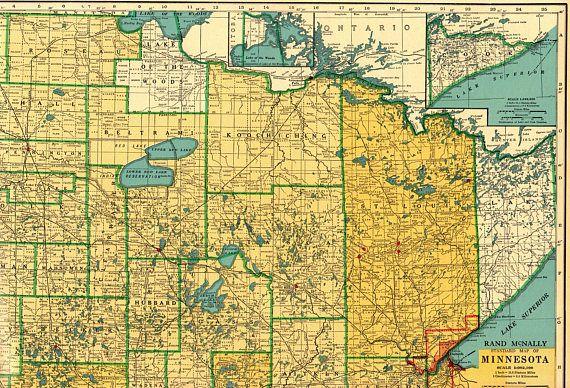 1944 Rare Size Antique MINNESOTA State Map Print w Railroads ...