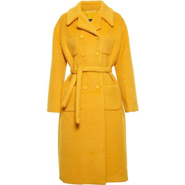 ROCHAS Double Breasted Coat (€2.410) ❤ liked on Polyvore featuring outerwear, coats, coats & jackets, rochas, long sleeve coat, double-breasted coat, yellow coat and tie belt