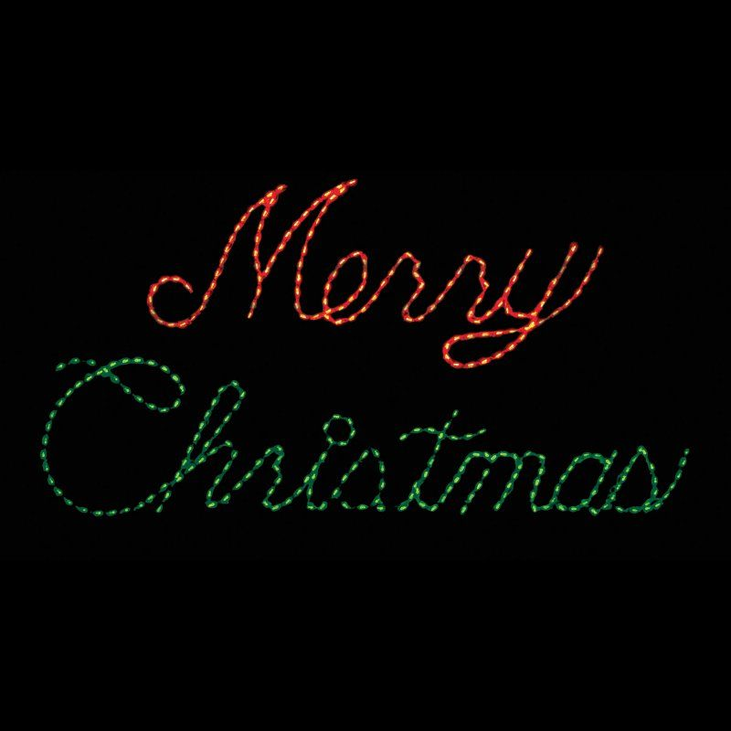 Outdoor LED Red and Green Merry Christmas Sign Lighted Display - 300 Bulbs  - LED-MC300RG - 32 In. Outdoor LED Red And Green Merry Christmas Sign Lighted
