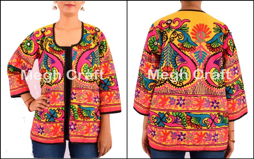 indian Embroidered Jackets Coat Ladies Embroidered Coats/ Cotton Kutch  Mirror Jacket/ BY#craftnfashion