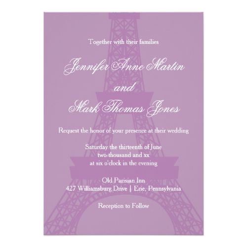 Lavender and purple paris eiffel tower wedding invitation paris paris wedding invitation lavender and purple paris eiffel tower wedding card stopboris Gallery