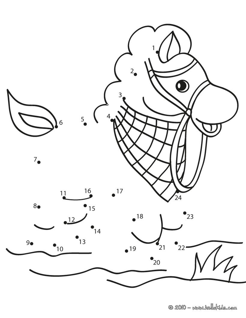Horse dot to dot game printable connect the dots game