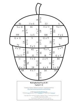 MULTIPLICATION Acorn Math Activity, Game, or Fall Learning
