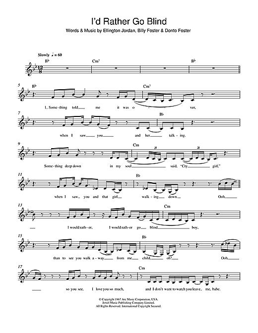 Etta James I D Rather Go Blind Sheet Music Notes Chords Score Download Printable Pdf Sheet Music Notes Music Notes Lyrics And Chords