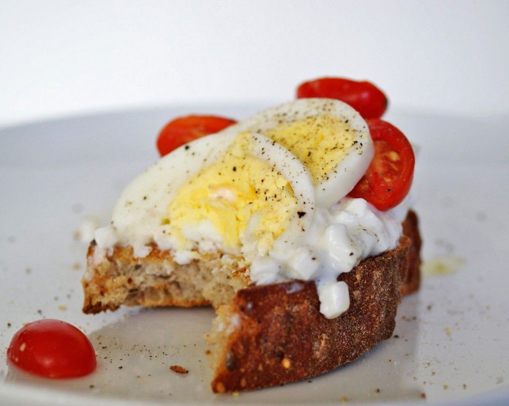 Attractive Cottage Cheese + Hard Boiled Egg Toast