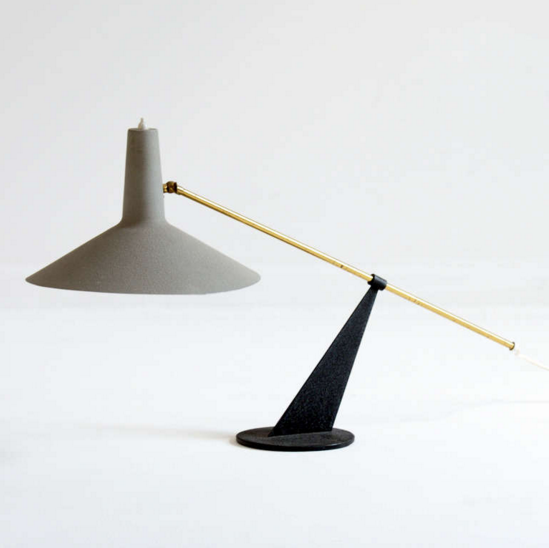 Anonymous; Enameled Metal and Brass Table Lamp by Kaiser