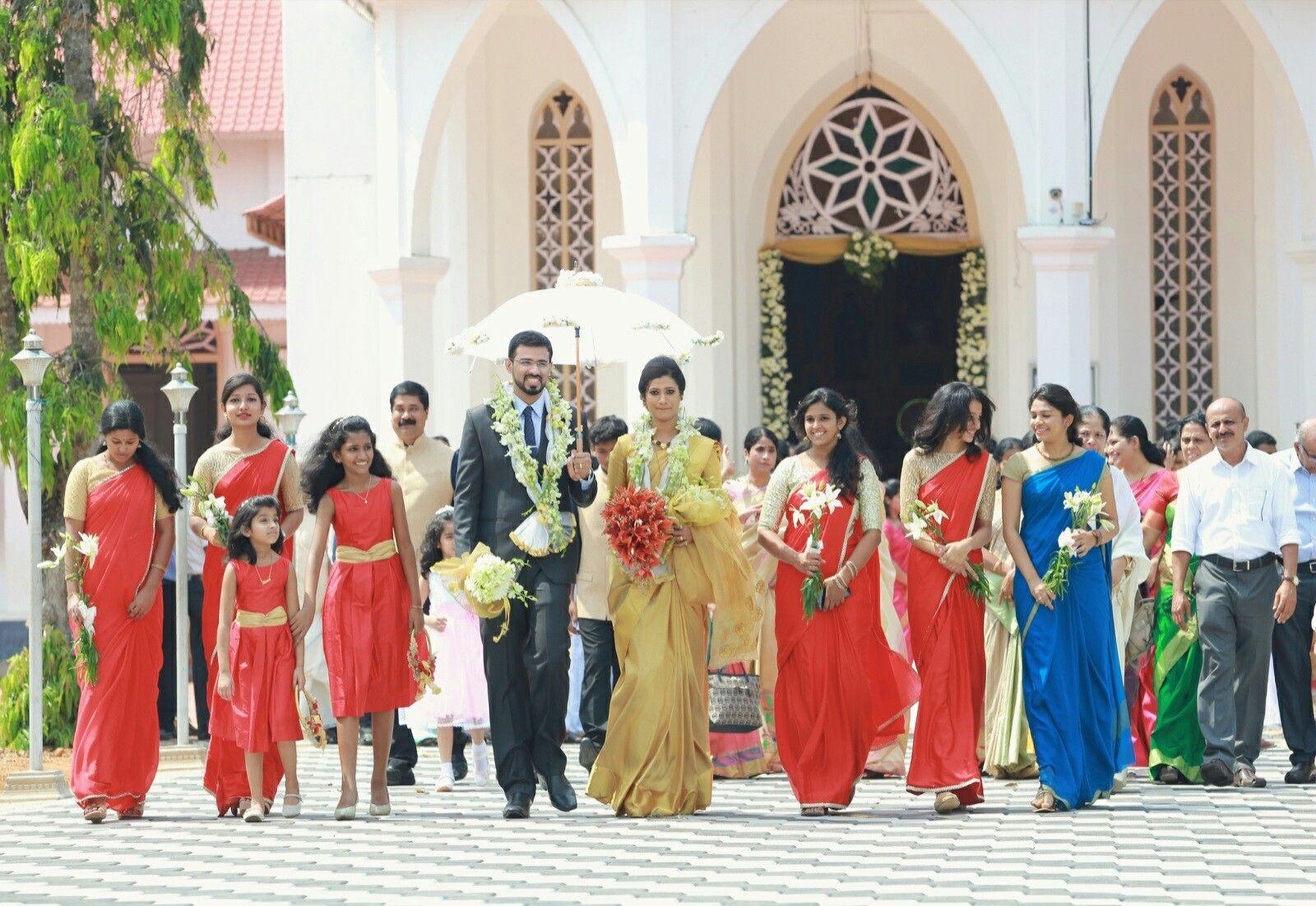 Bridesmaidsbride And Groomelegant Kerala Christian