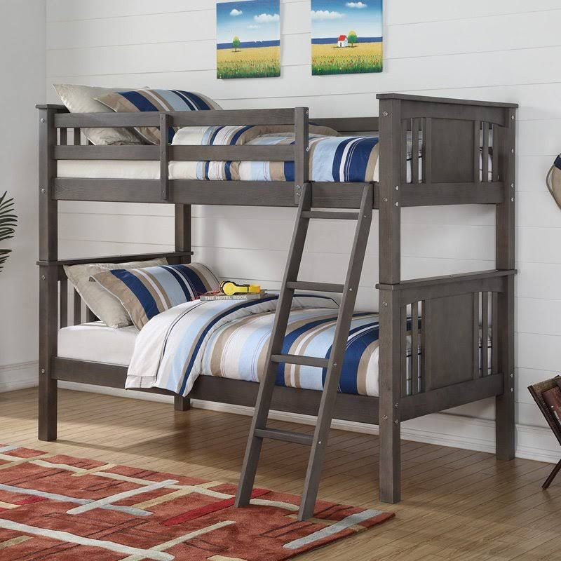 Twin Over Twin Princeton Bunkbed In Slate Gray Donco 316