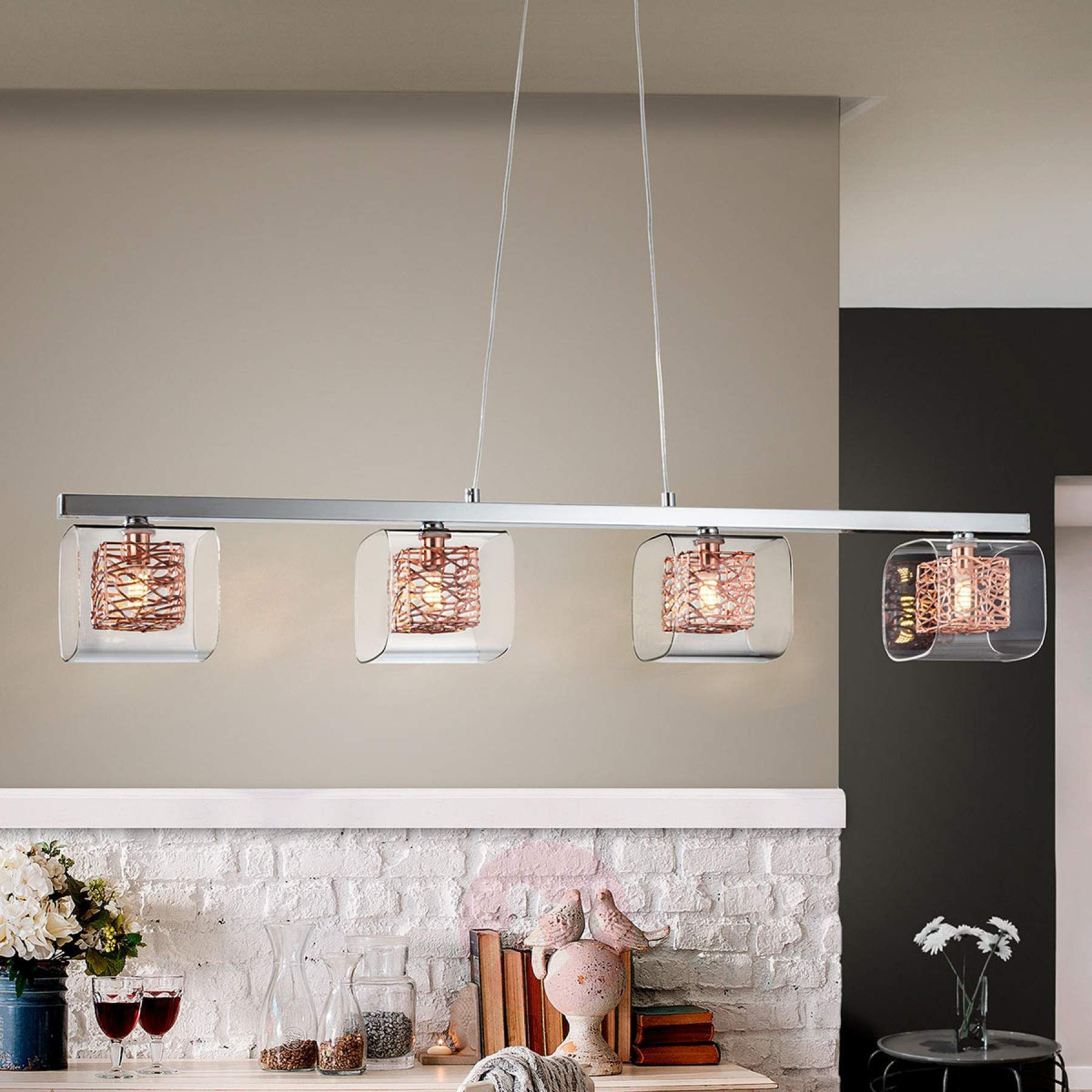 Led Balkenpendelleuchte Lios Mit 4 Doppelschirmen Kaufen Lampenwelt De Hangeleuchte Led Led Hangeleuchte
