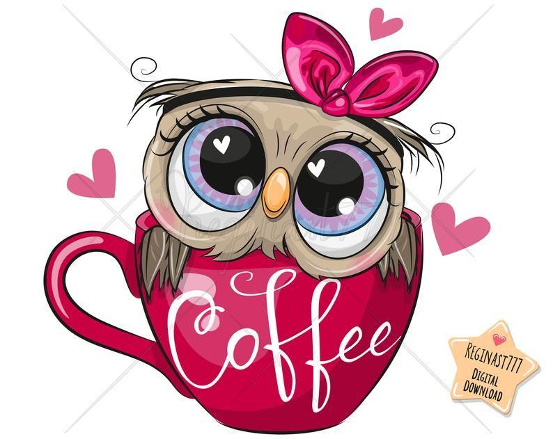 Cute Owl Png Coffee Digital Download Owl Clipart Adorable Etsy Owl Cartoon Cute Owl Cartoon Owls Drawing