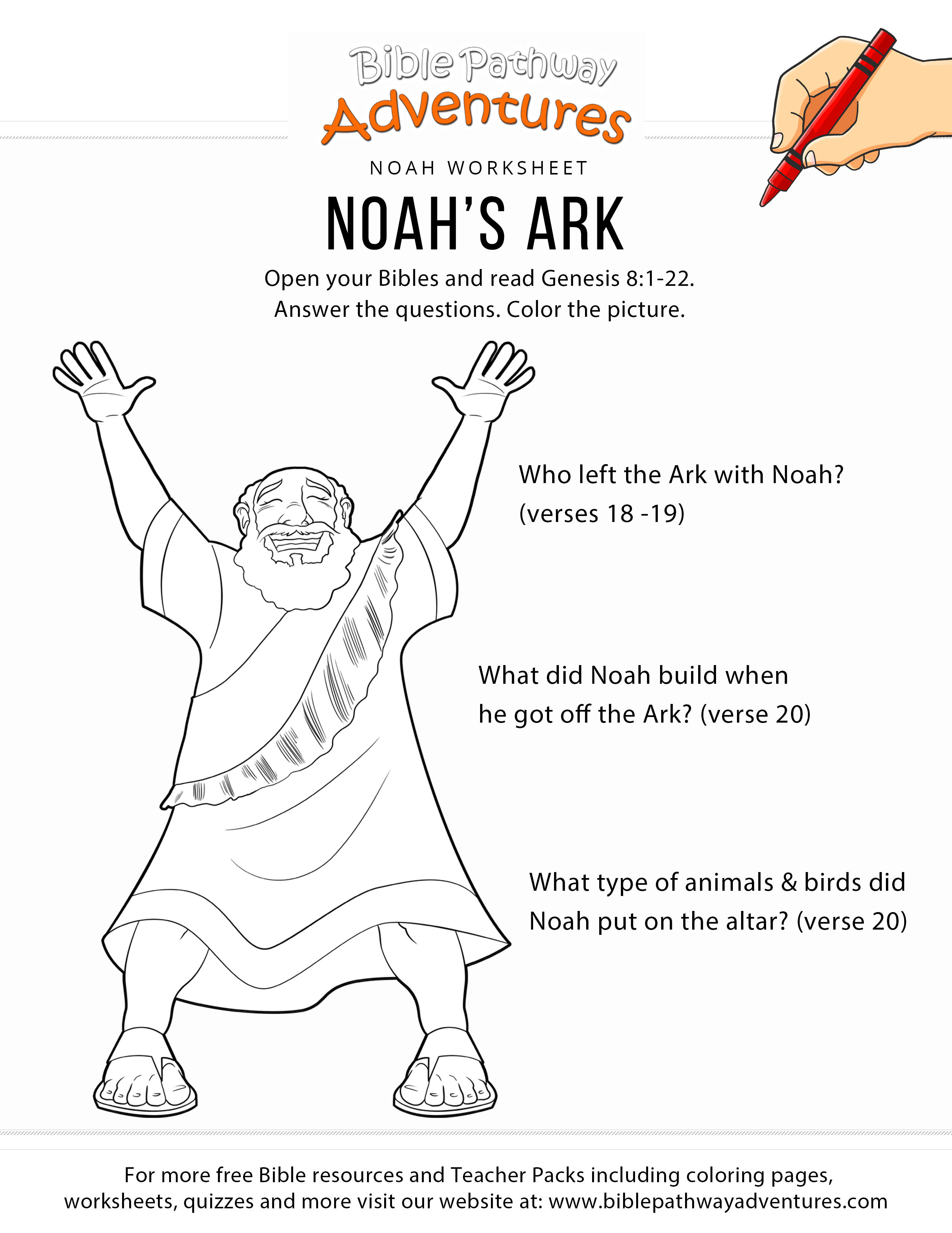 Noah\'s Ark worksheet and coloring page | Bible adventure | Pinterest ...