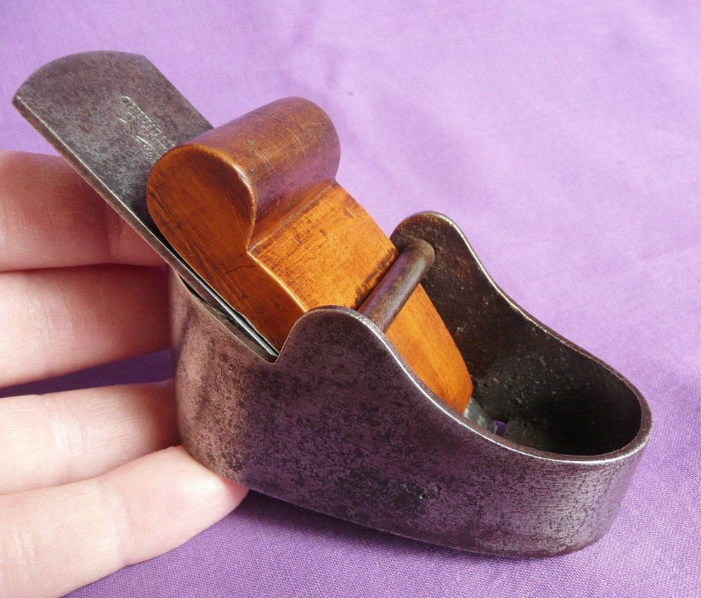 Small Vintage Woodworking Plane With Ovoid Shaped Sole