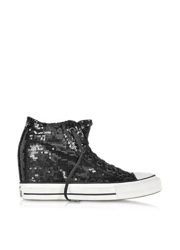 43b36a84d31679 Converse Limited Edition All Star Mid Lux Black Sequins and Canvas Wedge  Sneaker