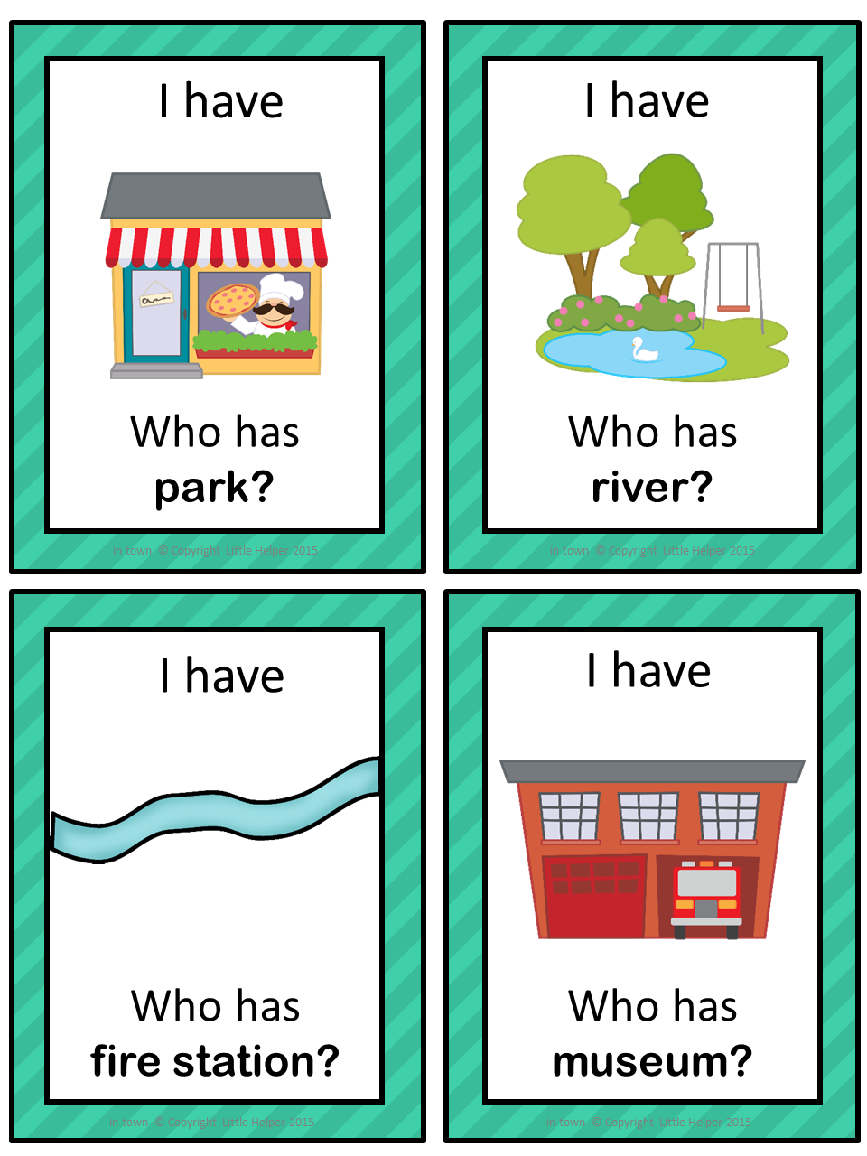 ESL In Town I have ... Who has ...? game | English | Pinterest ...