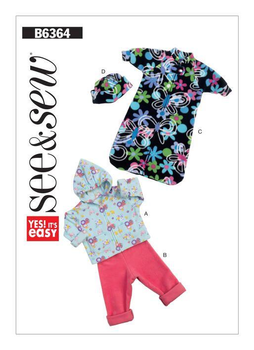 Butterick sewing pattern B6364 Infants  Hoodie 358064f72b5