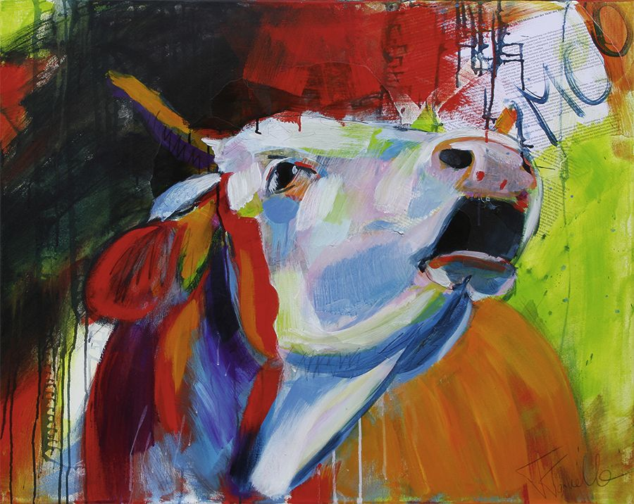 cow art kuh kunst moo acrylic on canvas 100x80 cm malbilder pinterest. Black Bedroom Furniture Sets. Home Design Ideas
