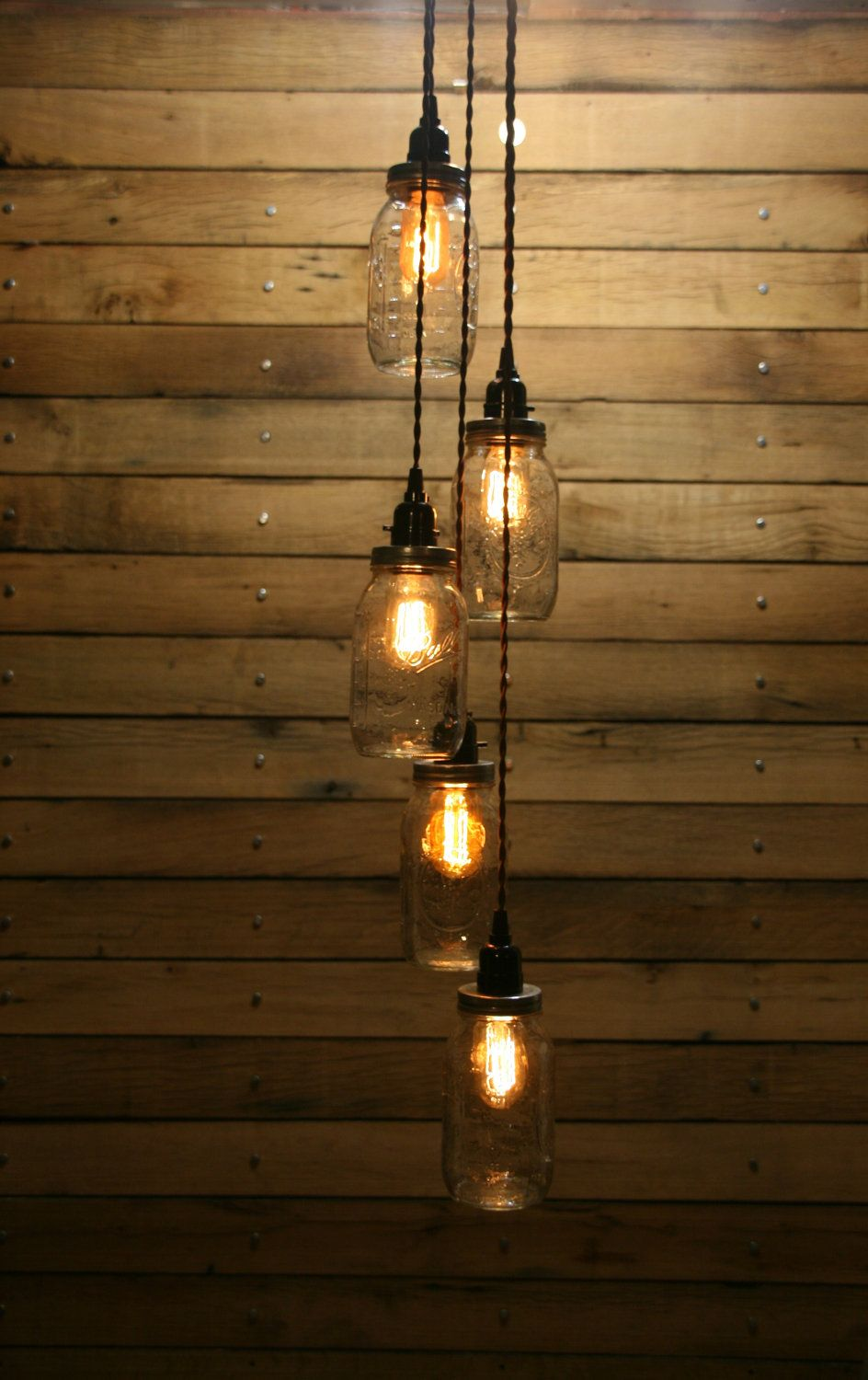 Diy 5 Jar Pendant Light Mason Chandelier Kit Staggered Length Hanging By Rewind On Etsy