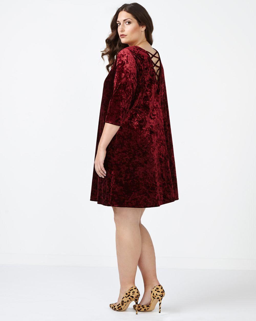 En ligne seulement robe évasée en velours mode taille plus