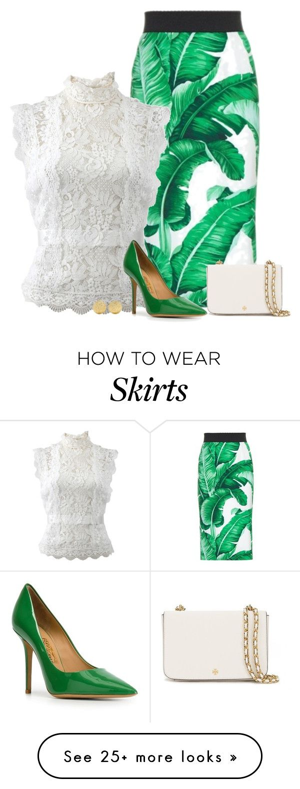 """leafy"" by divacrafts on Polyvore featuring Dolce&Gabbana, Oscar de la Renta, Salvatore Ferragamo, Tory Burch, Carolina Bucci and Original"
