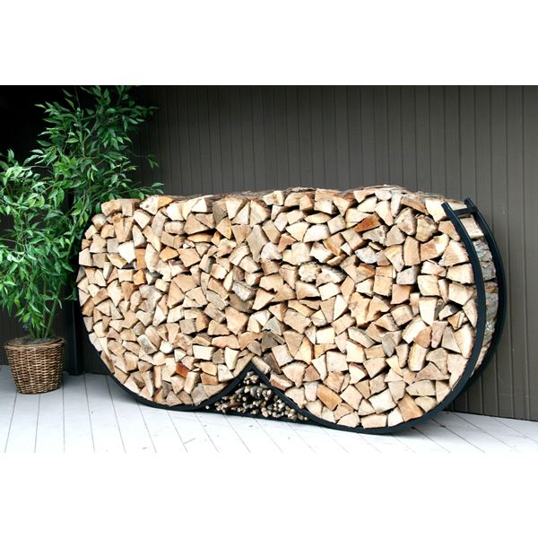 8ft Double Round Firewood Rack w Kindling Holder & Cover