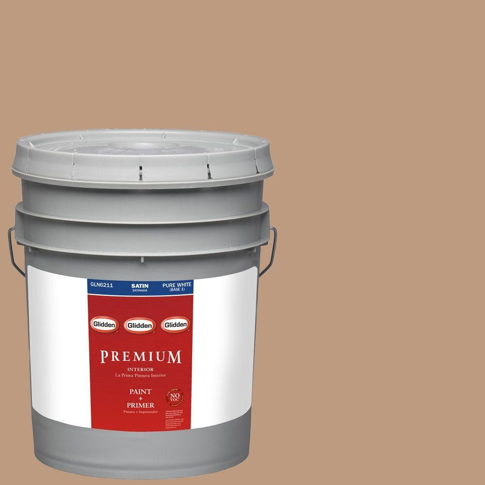 Glidden Premium 5-gal. #HDGO38 Brownington Court Satin Latex Interior Paint with Primer