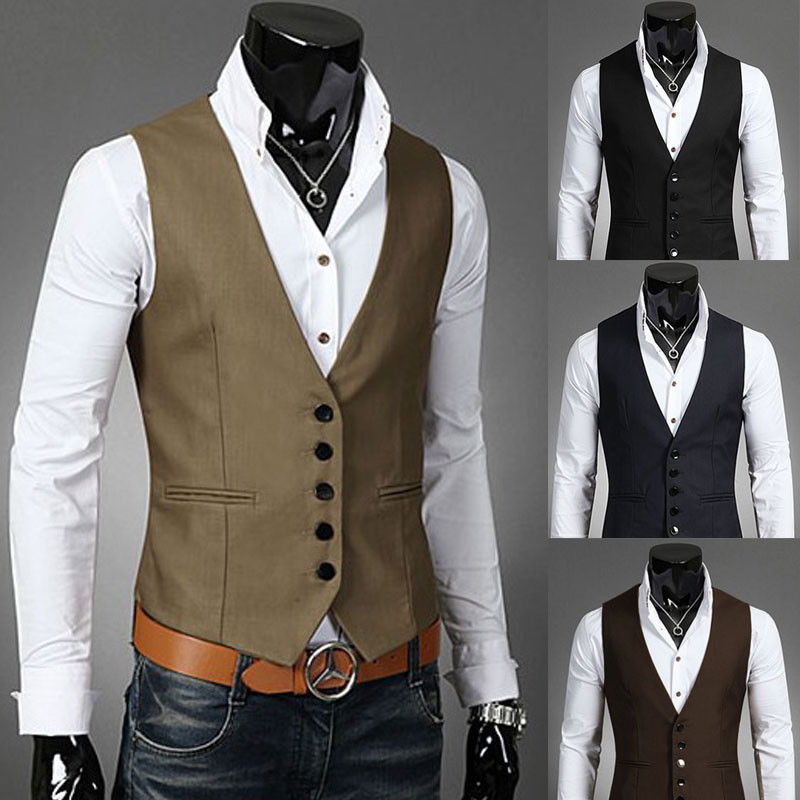 a135c3f0c5c Fashion Men s Formal Casual Dress Vest Tie Suit Slim Tuxedo Waistcoat Coat O