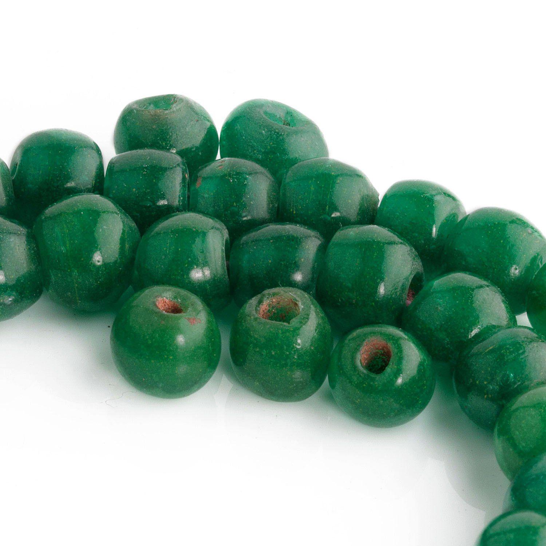 Czech glass emerald green frost round beads 6 mm pack of 50